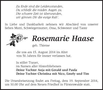 Zur Gedenkseite von Rosemarie