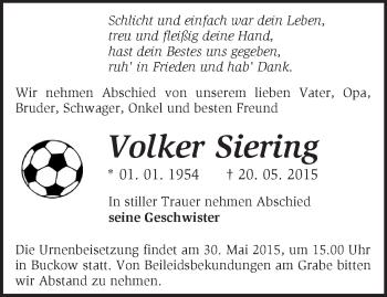 Zur Gedenkseite von Volker