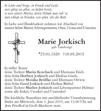 Zur Gedenkseite von Marie