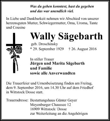 Anzeige Wally Sägebarth