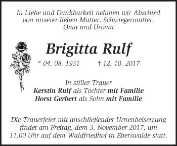 Traueranzeige Brigitta Rulf