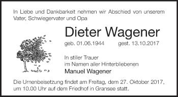 Traueranzeige Dieter Wagener