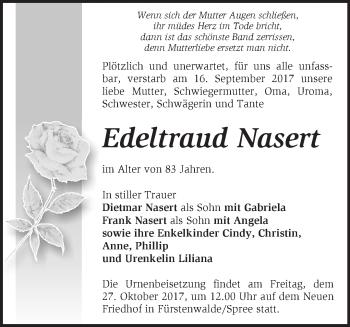 Traueranzeige Edeltraud Nasert
