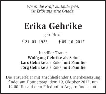 Traueranzeige Erika Gehrike