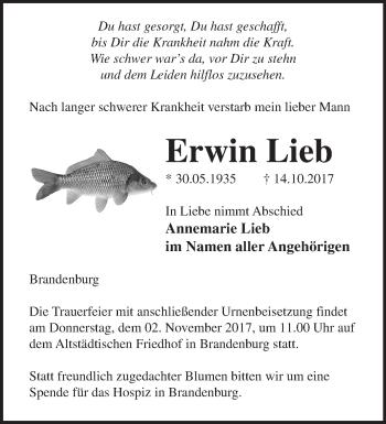 Traueranzeige Erwin Lieb