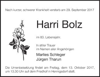 Traueranzeige Harri Bolz