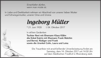 Traueranzeige Ingeborg Müller
