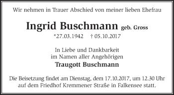 Traueranzeige Ingrid Buschmann
