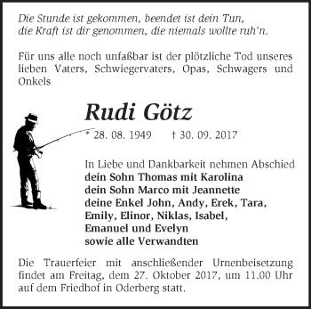 Traueranzeige Rudi Götz
