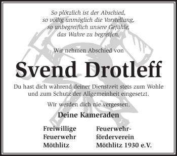 Traueranzeige Svend Drotleff