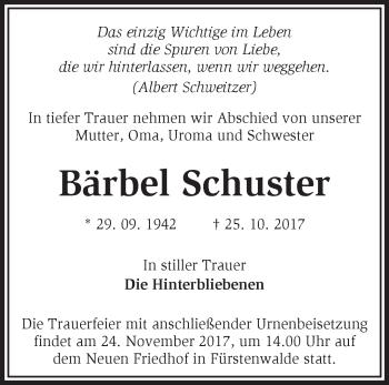 Traueranzeige Bärbel Schuster