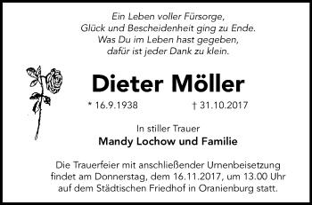 Traueranzeige Dieter Möller