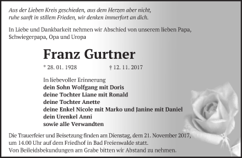 Traueranzeige Franz Gurtner