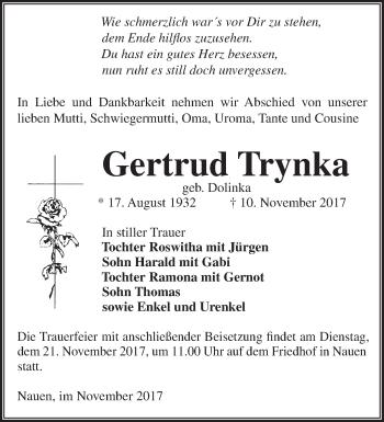 Traueranzeige Gertrud Trynka