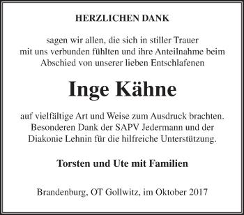 Traueranzeige Inge Kähne