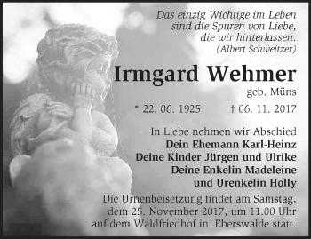 Traueranzeige Irmgard Wehmer