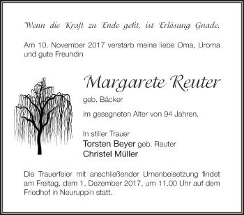 Traueranzeige Margarete Reuter