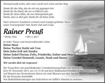 Traueranzeige Rainer Preuß