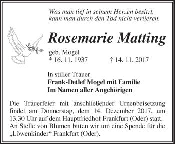 Traueranzeige Rosemarie Matting