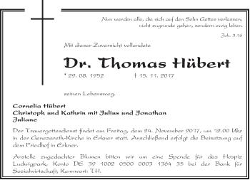 Traueranzeige Thomas Hübert
