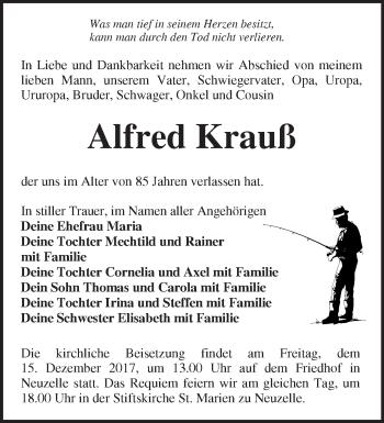 Traueranzeige Alfred Krauß