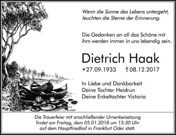 Traueranzeige Dietrich Haak