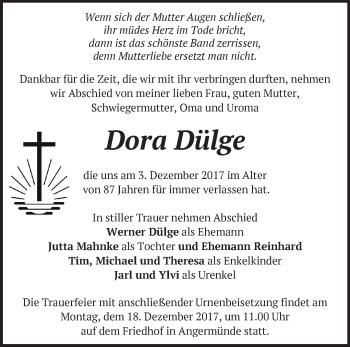 Traueranzeige Dora Dülge