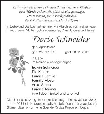 Traueranzeige Doris Schneider
