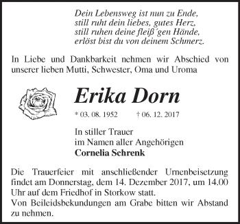 Traueranzeige Erika Dorn