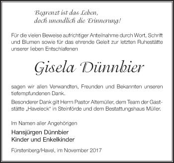 Traueranzeige Gisela Dünnbier
