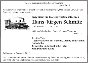 Traueranzeige Hans-Jürgen Schmitz