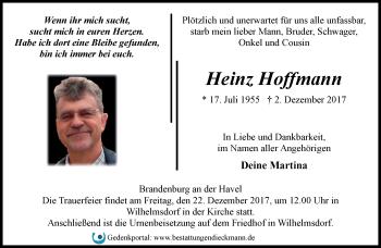 Traueranzeige Heinz Hoffmann