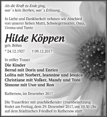 Traueranzeige Hilde Köppen