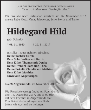 Traueranzeige Hildegard Hild