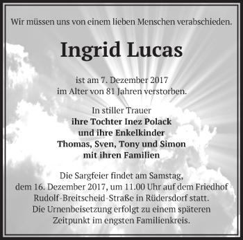 Traueranzeige Ingrid Lucas