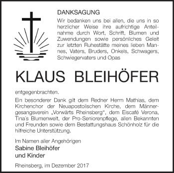 Traueranzeige Klaus Bleihöfer