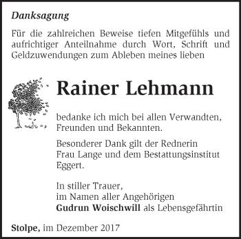 Traueranzeige Rainer Lehmann