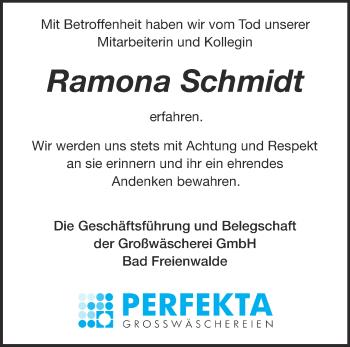 Traueranzeige Ramona Schmidt