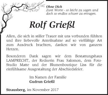 Traueranzeige Rolf Grießl