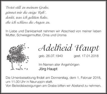 Traueranzeige Adelheid Haupt
