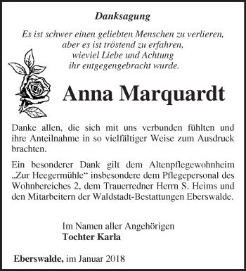 Traueranzeige Anna Marquardt