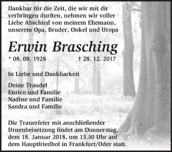 Traueranzeige Erwin Brasching