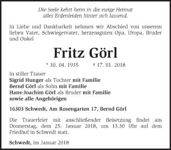Traueranzeige Fritz Görl