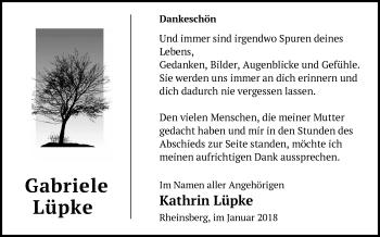 Traueranzeige Gabriele Lüpke