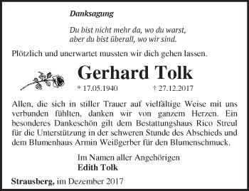 Traueranzeige Gerhard Tolk