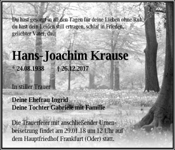 Traueranzeige Hans-Joachim Krause