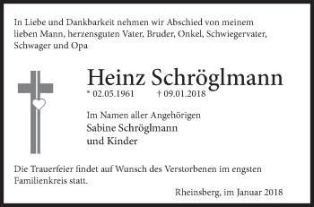 Traueranzeige Heinz Schröglmann