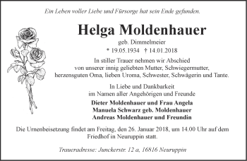 Traueranzeige Helga Moldenhauer