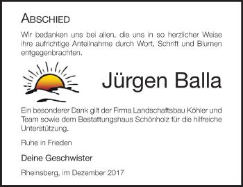 Traueranzeige Jürgen Balla