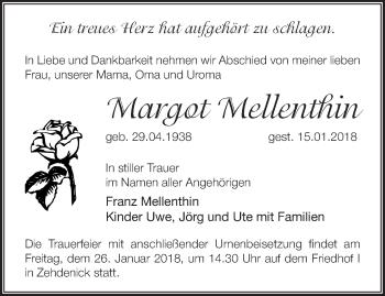 Traueranzeige Margot Mellenthin